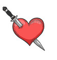 heart symbol pierced with knife sketch engraving vector image vector image