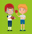 little boys practicing sports happy characters vector image