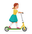little cute girl on electric scooter flat vector image