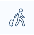 Man with suitcase sketch icon vector image vector image
