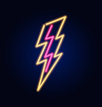 neon spark or lightning fashion sign night light vector image vector image