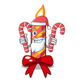 santa with candy decorative christmas candles vector image vector image