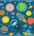 seamless pattern with boy astronaut in space vector image