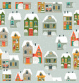 seamless pattern with cartoon little town vector image