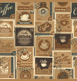 seamless pattern with postage stamps on coffee vector image vector image