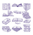 set different books hand drawn sketch vector image