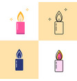shining candle icon set in flat and line styles vector image
