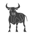 silhouette stand bull drawn with one line vector image vector image