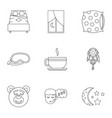 sleep symbols icon set outline style vector image vector image