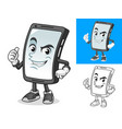 smartphone with thumbs up sign cartoon character vector image vector image