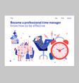 time management flat banner vector image vector image