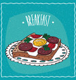 toast with egg and sausage vector image