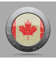 vintage metal button with flag of Canada - grunge vector image vector image