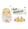 young girl with glasses reading a book suitcase vector image vector image