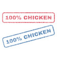 100 percent chicken textile stamps vector image vector image