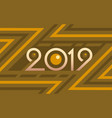 2019 geometric numbers on colorful yellow vector image vector image