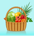 a basket with vegetables tomatoes cucumbers vector image