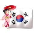 A South Korean girl beside their flag vector image vector image
