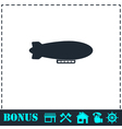 Airship zeppelin icon flat vector image vector image