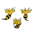 Angry cartoon wasp or hornets with a sting vector image vector image