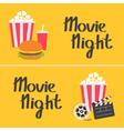 Banner set Movie reel Open clapper board Popcorn vector image vector image