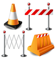 Barricade item set vector image vector image