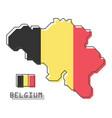 belgium map and flag modern simple line cartoon vector image