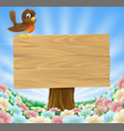 bird on wooden sign background vector image vector image