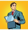 Businessman with laptop or tablet vector image vector image