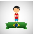 cartoon athletics player brazilian label vector image vector image