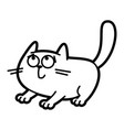 cat cartoon character coloring page black and vector image
