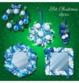Christmas decoration mirror and a wreath mittens vector image vector image