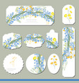 collection with different floral paper labels for vector image vector image