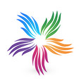 colorful group leaf hands icon vector image