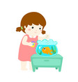 cute little girl feeding fish in aquarium cartoon vector image vector image