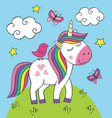 cute little unicorn with bird on meadow vector image vector image