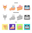 Design of diet and treatment icon set of