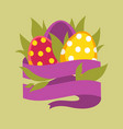 eggs in grass and blank ribbon isolated icon vector image vector image