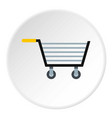Empty steel trolley icon circle vector image
