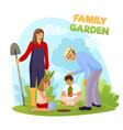family garden vector image