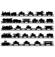 Five vintage military trains vector image