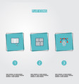 flat icons scheme science writing and other vector image vector image