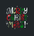fun merry christmas modern letters card design vector image