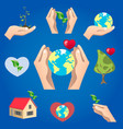 green icons save planet object vector image vector image