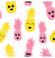 happy smiling pineapples characters vector image vector image