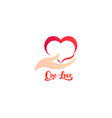 heart and caring hand logo business vector image vector image