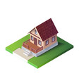 isometric country house on green ground the vector image vector image