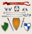 knight armour set vector image vector image