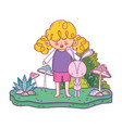 little rabbit with girl in the landscape vector image