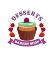 Muffin cake with berries Bakery shop emblem vector image vector image